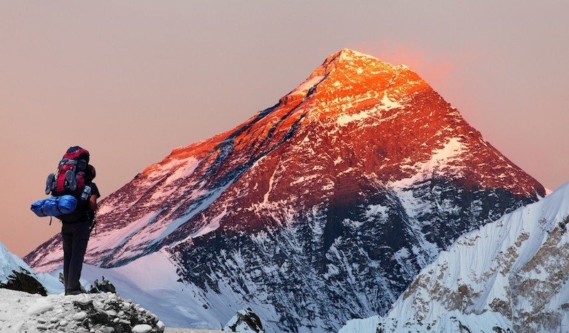 Mount Everest and climber
