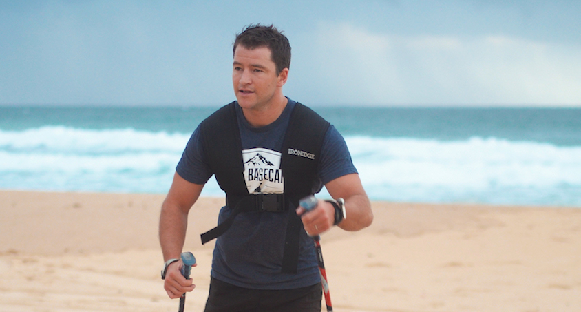 Gareth Andrews training on the beach.