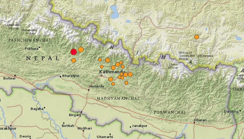 Wild magazine nepal earthquake map by usgs gumiabroncs Choice Image