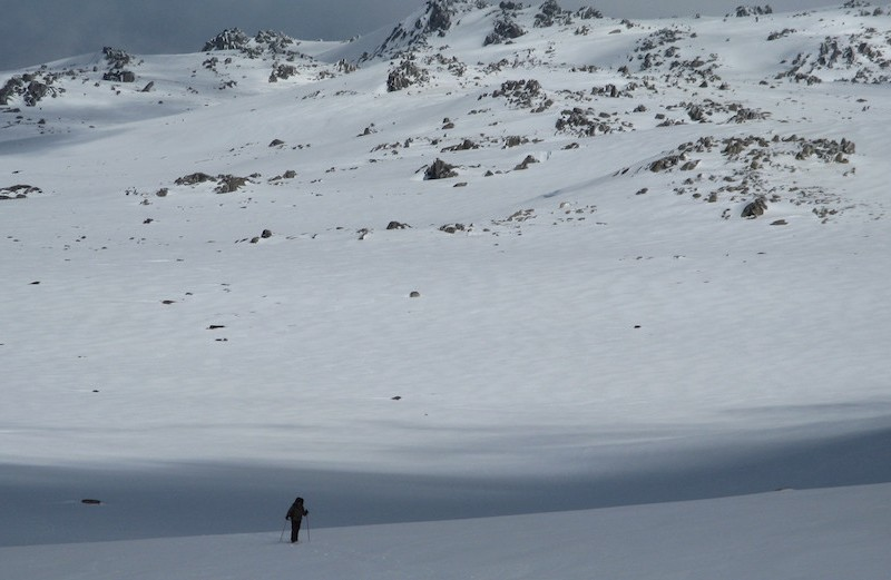Backcountry skiing by Cam Walker.