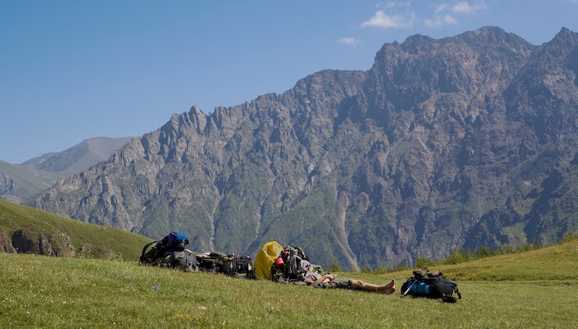 Hikers resting