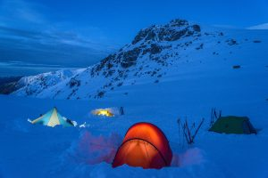 Mike Edmondson tents in snow